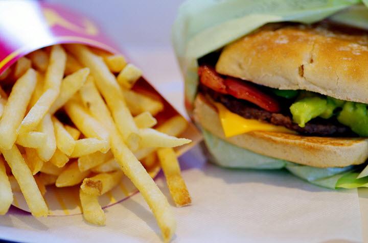 McDonald's Cheeseburger and French Fries.